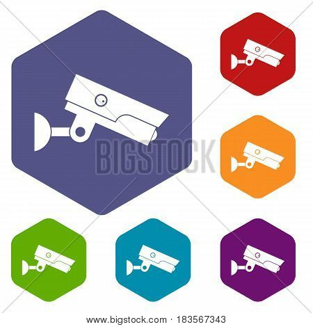 Security camera icons set hexagon isolated vector illustration