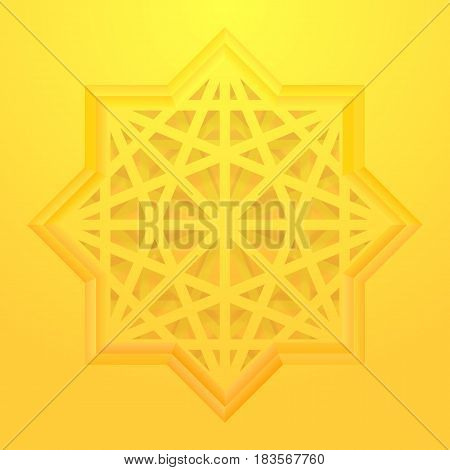 Abstract golden background. Eight point star with geometric pattern. Vector, eps 10.