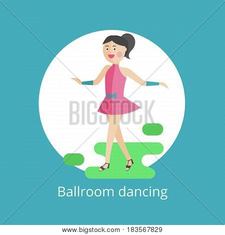 Vector icon. The girl is engaged in ballroom dances.