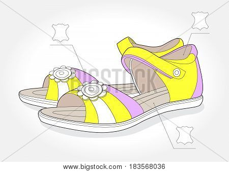 Realistic girl sandals with leather symbol on white background, vector illustration