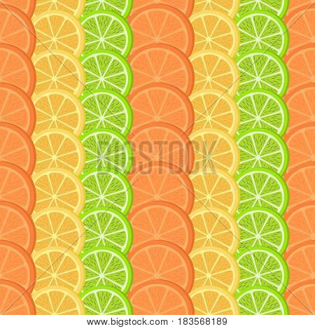 Citrus seamless pattern. Orange lemon and lime slices stacked in rows. Vector illustration