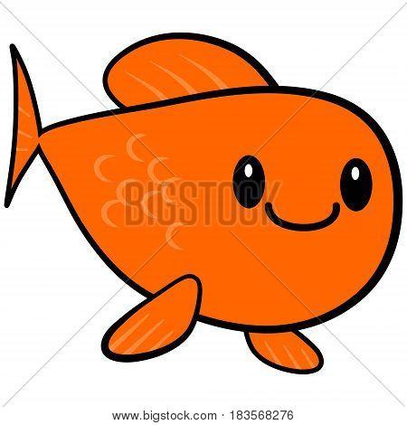 A vector illustration of a kawaii Goldfish.
