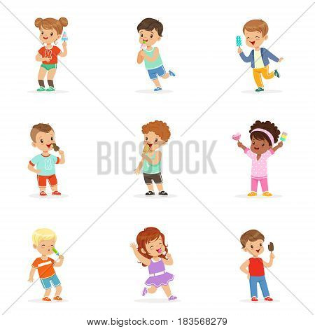 Cute little children eating ice cream. Happy children enjoying eating with their ice cream. Cartoon detailed colorful Illustrations isolated on white background