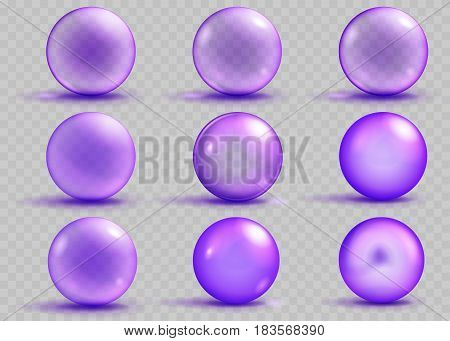 Set of transparent and opaque purple spheres with shadows and glares on transparent background. Transparency only in vector file