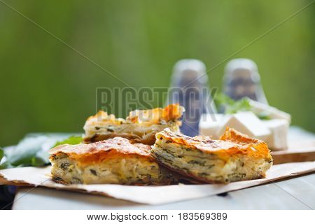 Feta Cheese & Spinach Pie, Greek Spanikopita, traditional food