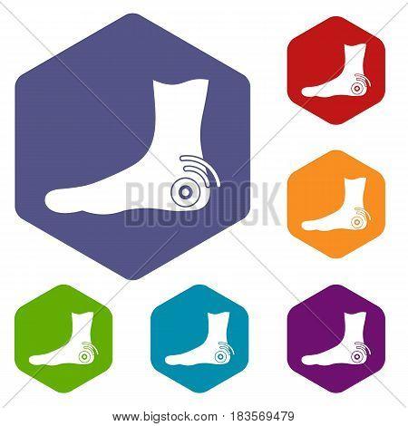 Foot heel icons set hexagon isolated vector illustration