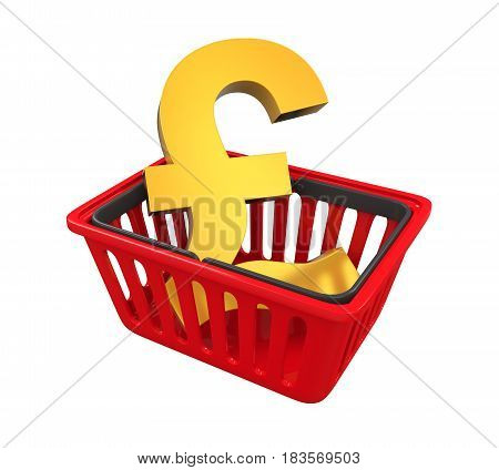 Shopping Basket with Pound Sign isolated on white background. 3D render