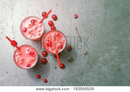 Refreshing Cocktail With Vodka With Ice And Cranberry, Copy Space.