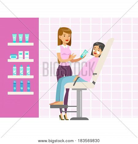 Beautician applying woman white mask on face in salon. Beauty, relaxation, skincare, wellness in beauty salon. Colorful cartoon character vector Illustration