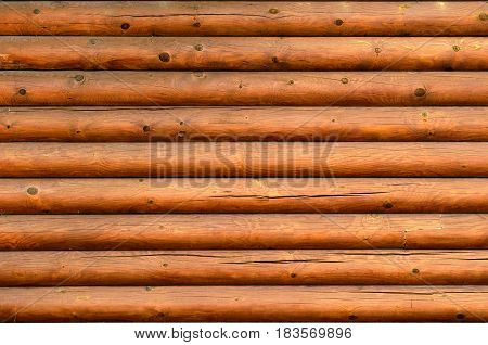 Wall Of A Log House Wall With Texture And Wood Knots Exterior