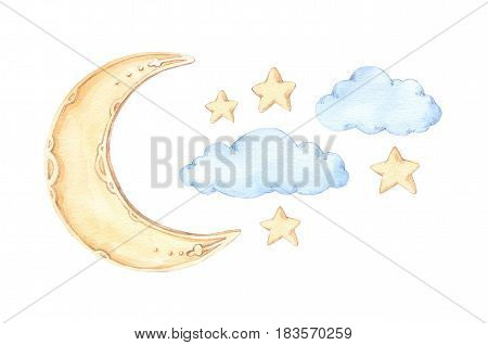 Hand Drawn Watercolor Illustration - Good Night (sleeping Moon, Stars, Clouds). Baby Print. Perfect
