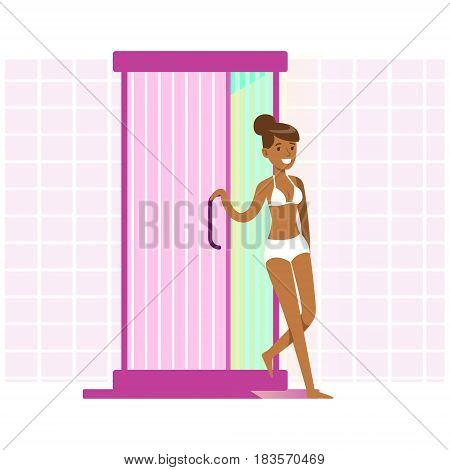 Attractive woman tanning in solarium. Beauty, relaxation, skincare, wellness in beauty salon. Colorful cartoon character vector Illustration