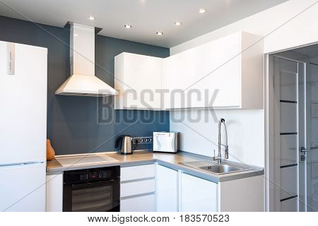 Interior of modern kitchen in a spacious apartment.