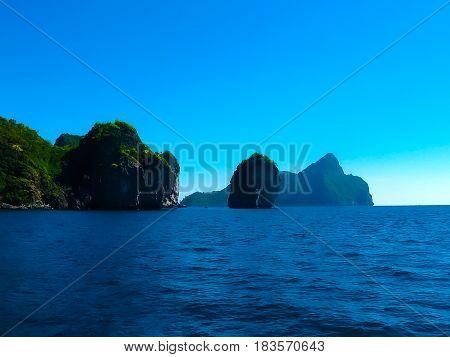 Tropical landscape. Railay beach, Krabi, Thailand View of the rocks