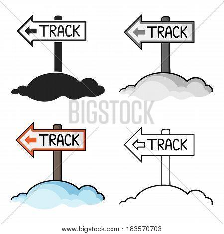 Signpost icon in cartoon style isolated on white background. Ski resort symbol vector illustration.