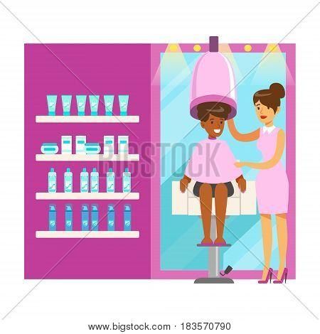Women drying hair in beauty salon. Hair salon or barbershop interior. Colorful cartoon character vector Illustration