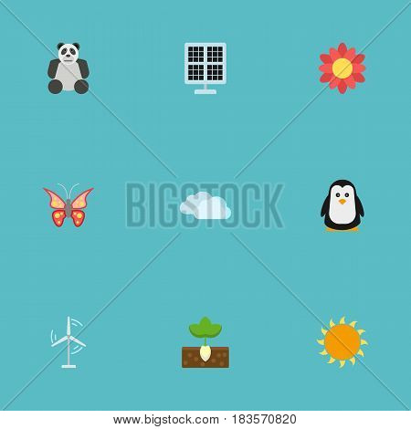 Flat Sunshine, Electric Mill, Sun Power And Other Vector Elements. Set Of Eco Flat Symbols Also Includes Bird, Panda, Beautiful Objects.