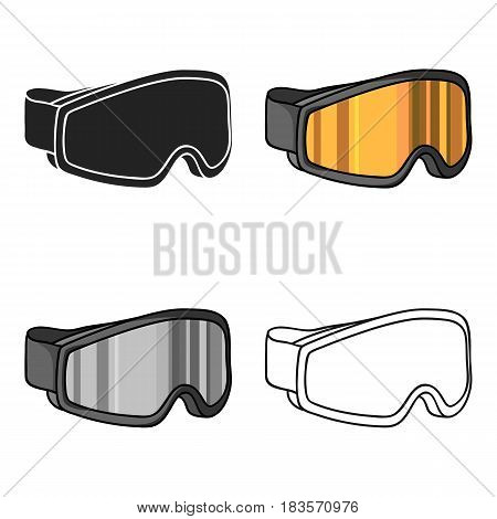 Ski goggles icon in cartoon style isolated on white background. Ski resort symbol vector illustration.