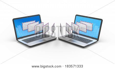 Two laptops exchanging messages. Emailing concept 3d illustration.
