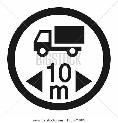 Maximum vehicle length sign line icon, Traffic and road sign, vector graphics, a solid pattern on a white background, eps 10.