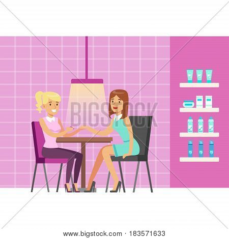 Girl doing manicure in beauty salon. Colorful cartoon character vector Illustration