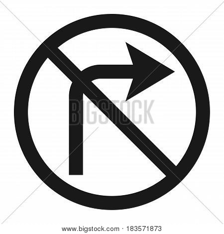 No Right prohibition turn sign line icon, Traffic and road sign, vector graphics, a solid pattern on a white background, eps 10.