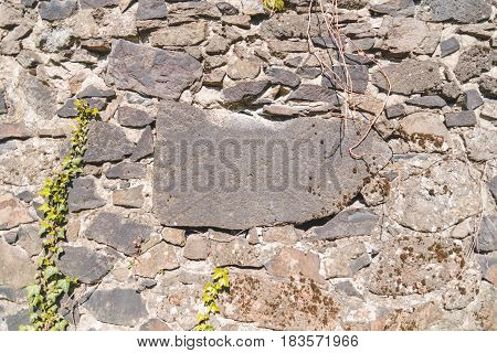 stone with sace for text in the center