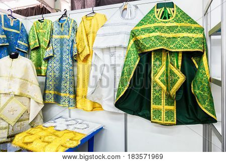 The Different solemn slavic orthodox priest's vestments