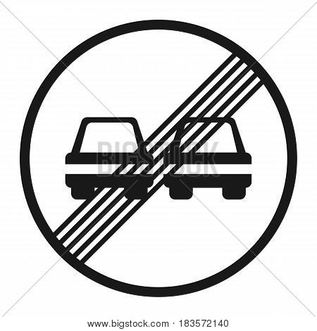 The end of prohibition of overtaking sign line icon, Traffic and road sign, vector graphics, a solid pattern on a white background, eps 10.