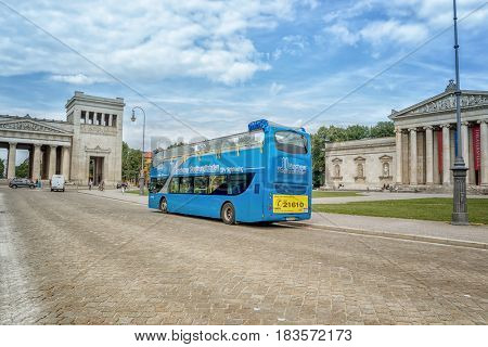 Munich, Germany - August 6, 2016: Sightseeing bus in Munich