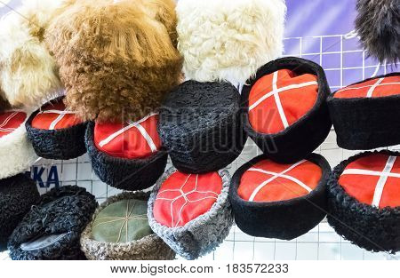 Various traditional Cossack hats made of different fur