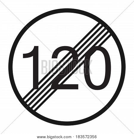 End maximum speed limit 120 sign line icon, Traffic and road sign, vector graphics, a solid pattern on a white background, eps 10.