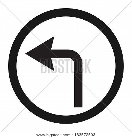 turn left arrow sign line icon, Traffic and road sign, vector graphics, a solid pattern on a white background, eps 10