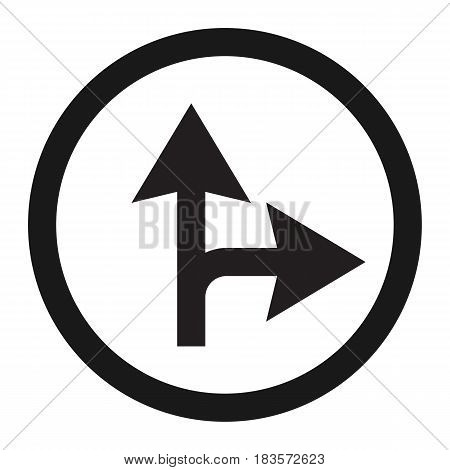 Compulsory ahead or right sign line icon, Traffic and road sign, vector graphics, a solid pattern on a white background, eps 10