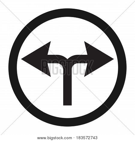 turn left or right traffic sign line icon, Traffic and road sign, vector graphics, a solid pattern on a white background, eps 10