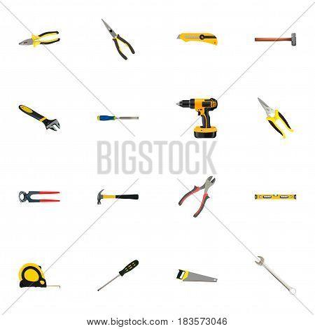 Realistic Spanner, Nippers, Carpenter And Other Vector Elements. Set Of Tools Realistic Symbols Also Includes Carpenter, Stationery, Chisel Objects.