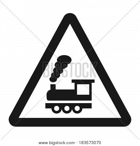 Railroad crossing without barrier sign line icon, Traffic and road sign, vector graphics, a solid pattern on a white background, eps 10