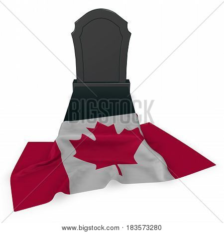 gravestone and flag of canada - 3d rendering