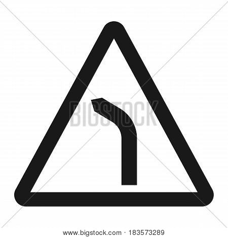 Bend to left warning sign line icon, Traffic and road sign, vector graphics, a solid pattern on a white background, eps 10