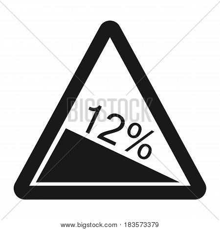 Steep descent sign line icon, Traffic and road sign, vector graphics, a solid pattern on a white background, eps 10