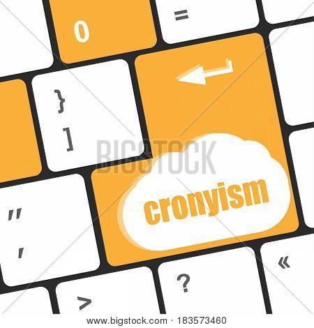 Cronyism On Computer Laptop Keyboard Key Button