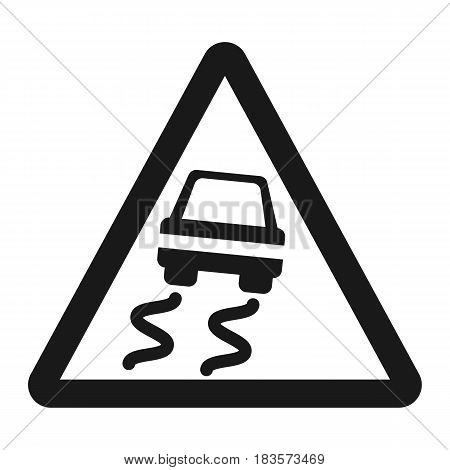 Slippery road sign line icon, Traffic and road sign, vector graphics, a solid pattern on a white background, eps 10