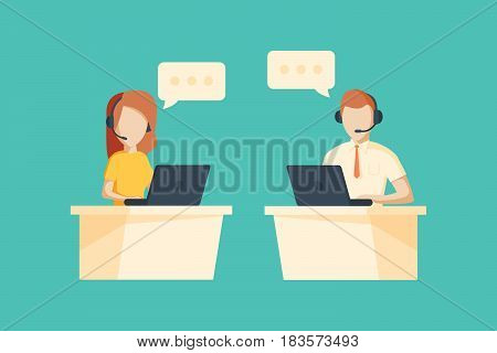 Male and female operator with headset working at call center. Customer service concept.