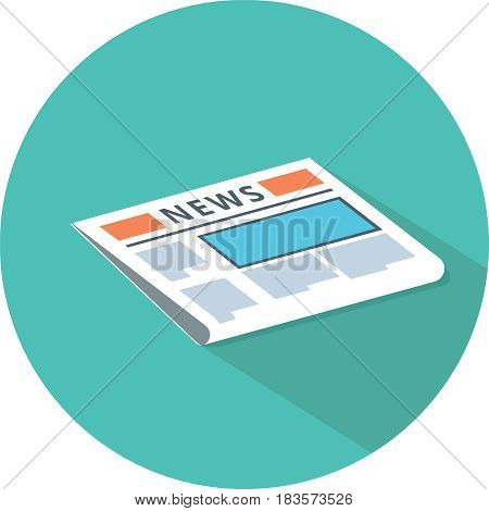 newspaper icon. News publish media icon. Vector illustration. Icon for web and mobile, modern minimalistic flat design.