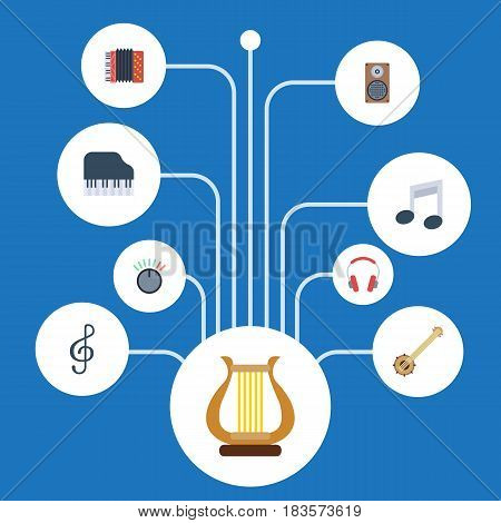 Flat Harmonica, Tone Symbol, Audio Box And Other Vector Elements. Set Of Studio Flat Symbols Also Includes Musical, Headset, Accordion Objects.