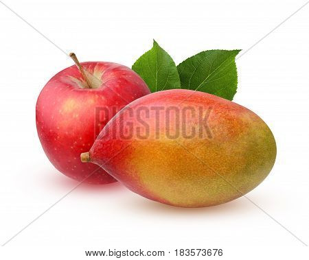 red Apple and mango isolated on a white background. fruit.