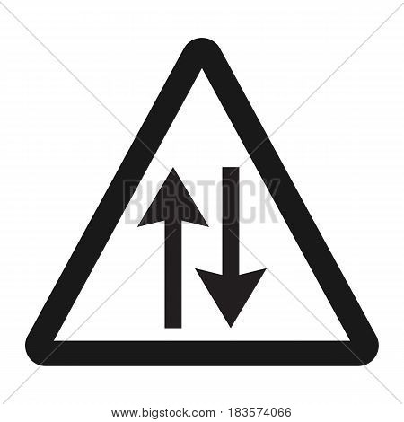 Two way traffic sign line icon, Traffic and road sign, vector graphics, a solid pattern on a white background, eps 10