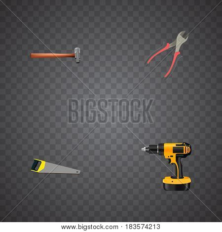 Realistic Hacksaw, Forceps, Electric Screwdriver And Other Vector Elements. Set Of Construction Realistic Symbols Also Includes Tool, Saw, Electric Screwdriver Objects.