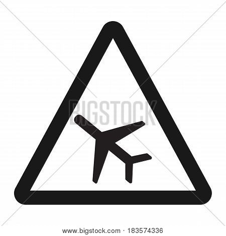 Low Flying Aircraft sign line icon, Traffic and road sign, vector graphics, a solid pattern on a white background, eps 10