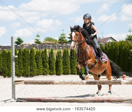 Young girl riding on pony practising jumping over hurdle
